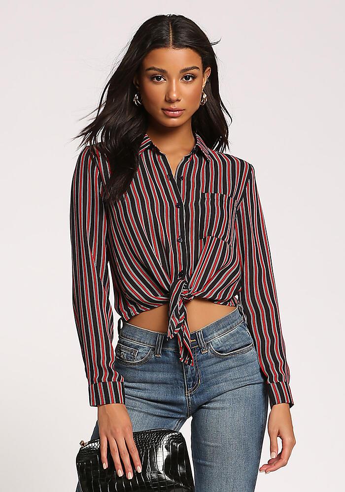 fbc892ead99 Red Stripe Collared Tie Front Crop Top