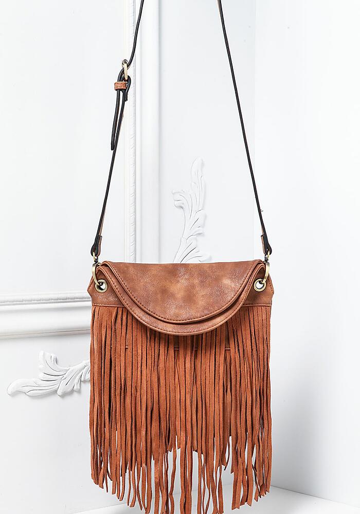 Junior Clothing Brown Vegan Leather Fringe Crossbody Bag