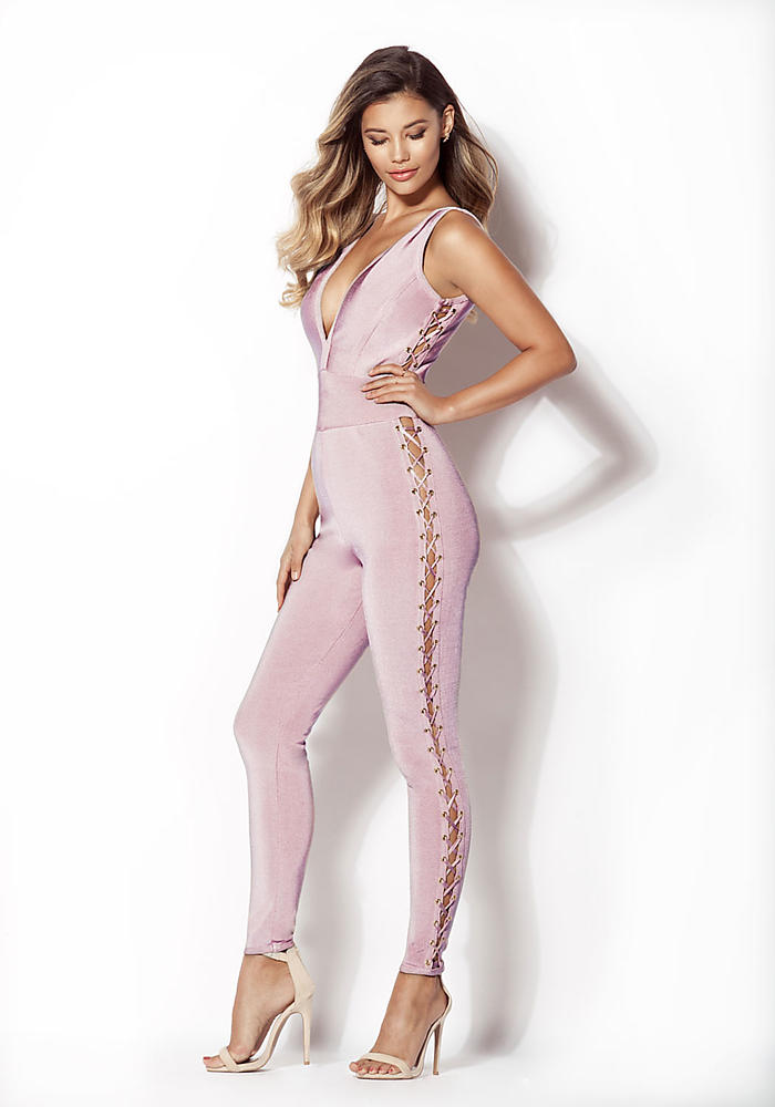 71b0dda573e2fc Junior Clothing | Mauve Side Lace Up Bandage Jumpsuit | Loveculture.com