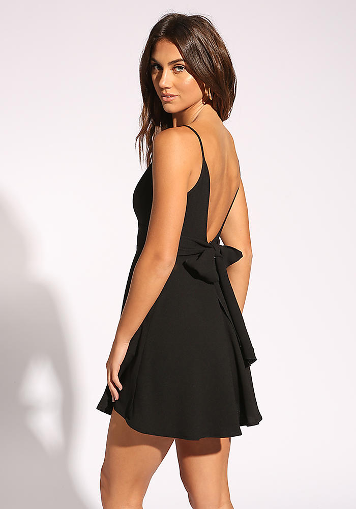 Junior Clothing Black Low Cut Back Flared Dress Loveculture