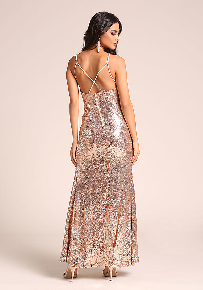 Junior Clothing | Rose Gold Sequin High Slit Maxi Gown | Loveculture.com