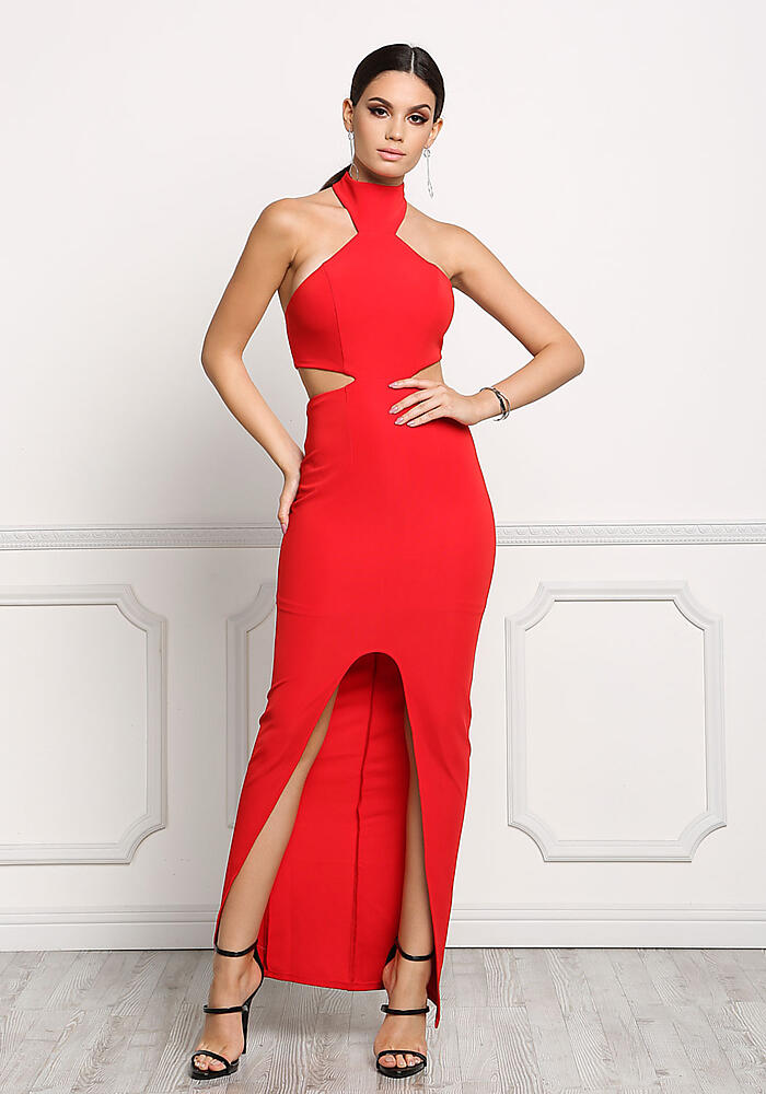 Junior Clothing | Red Choker Cut Out Slit Maxi Dress | Loveculture.com