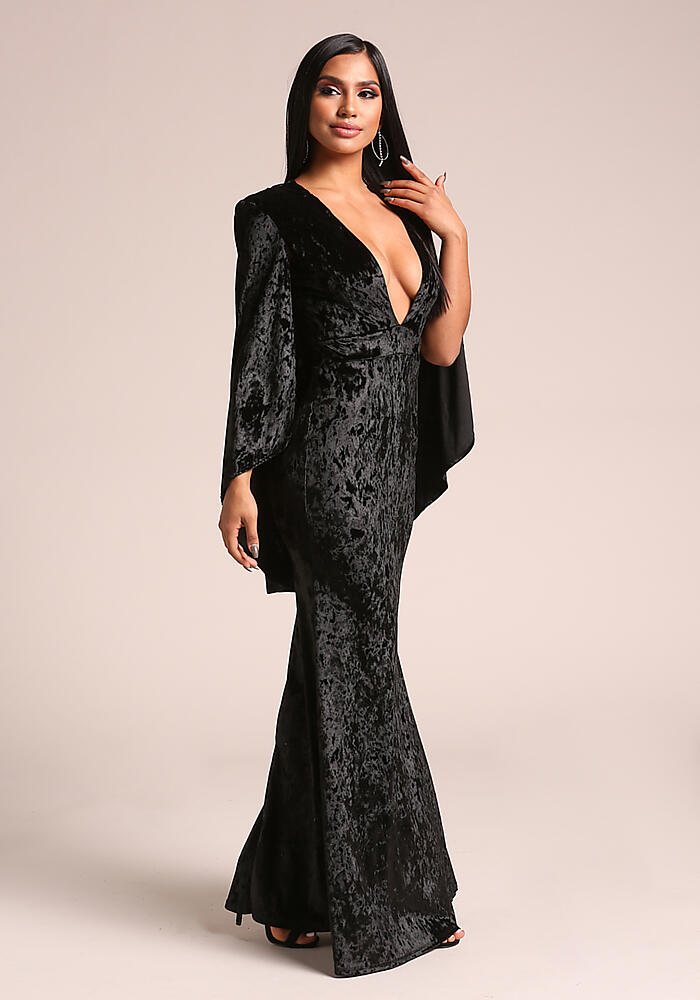 Junior Clothing Black Crushed Velvet Plunge Cape Gown