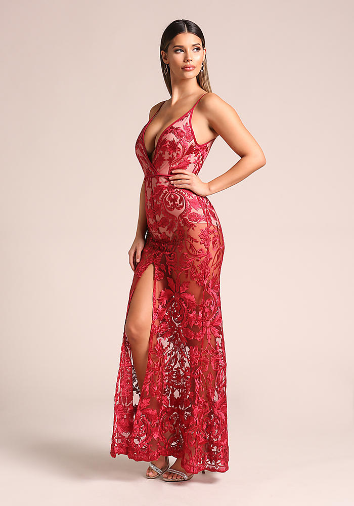 Junior Clothing | Red Floral Embroidered Plunge Slit Maxi Gown ...