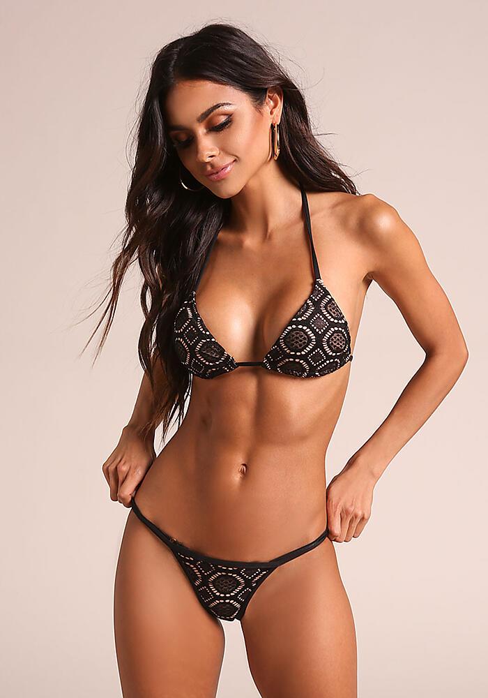 Junior Clothing Black Nude Thin Strap Crochet Swimsuit Bikini