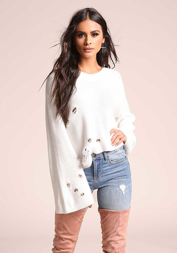 Junior Clothing | Ivory Bell Sleeve Distressed Sweater Top | Loveculture.com | Tuggl