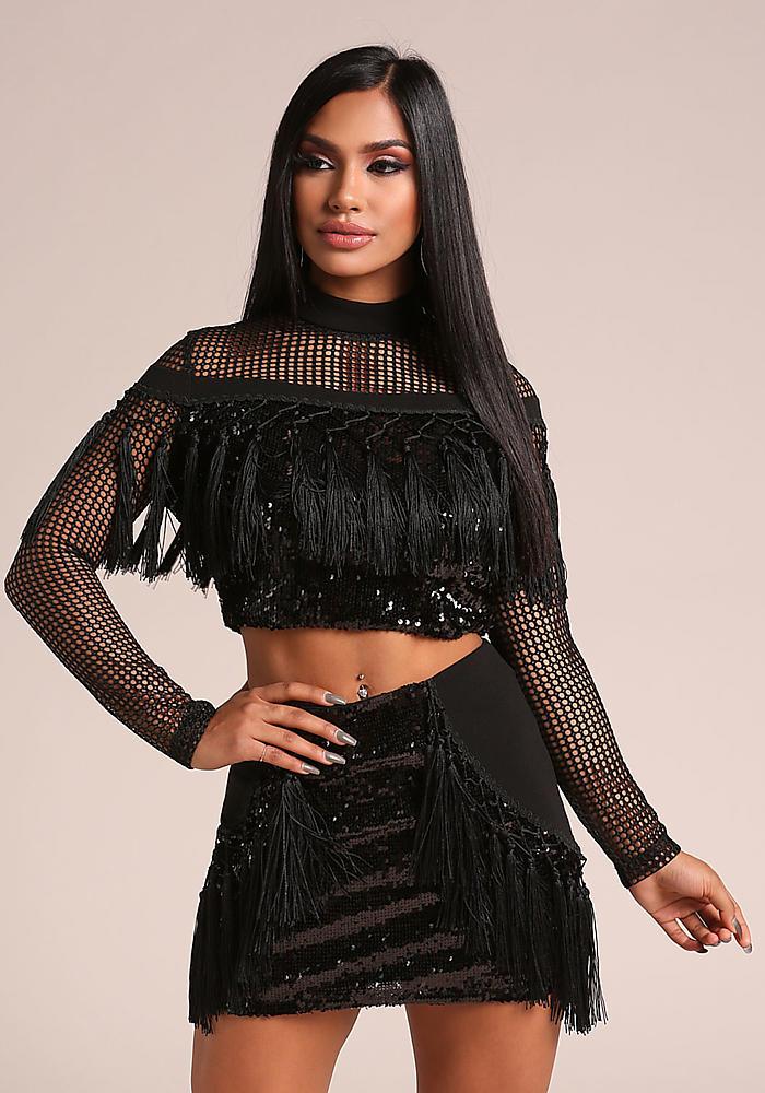 a3d26cb3ae4045 Junior Clothing | Black Sequin Tassel Mesh Net Crop Top | Loveculture.com