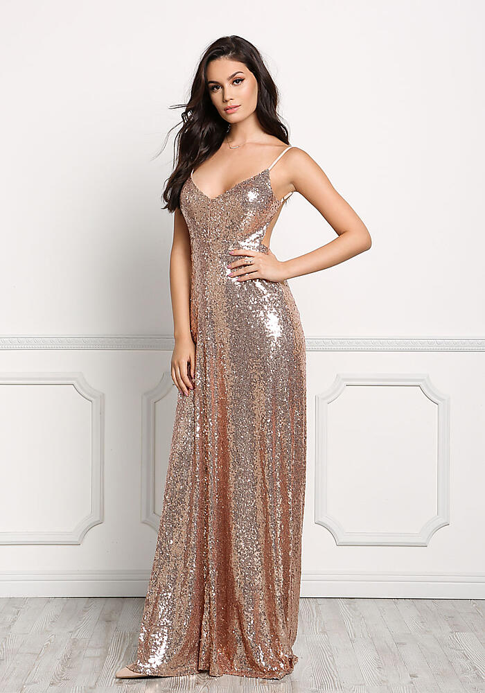 Junior Clothing Rose Gold Sequin Long Slip Maxi Gown Loveculture