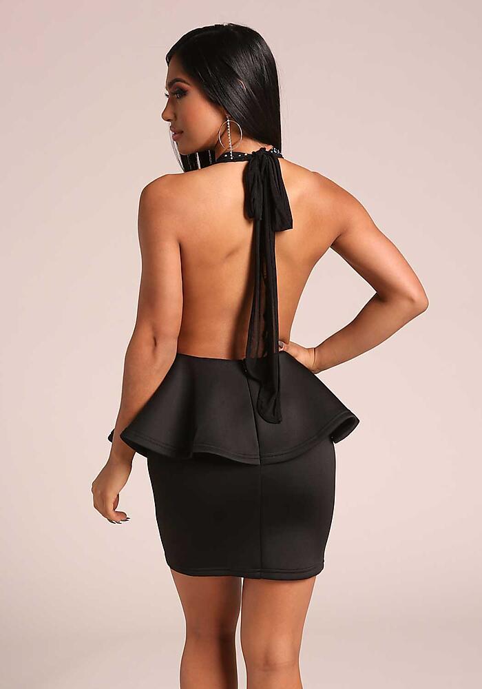 Junior Clothing Black Plunge Rhinestone Halter Peplum Bodycon