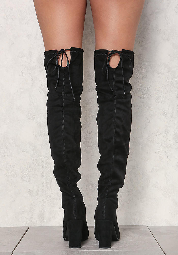 53b00fdcc63 Junior Clothing | Black Suedette Thigh High Boots | Loveculture.com