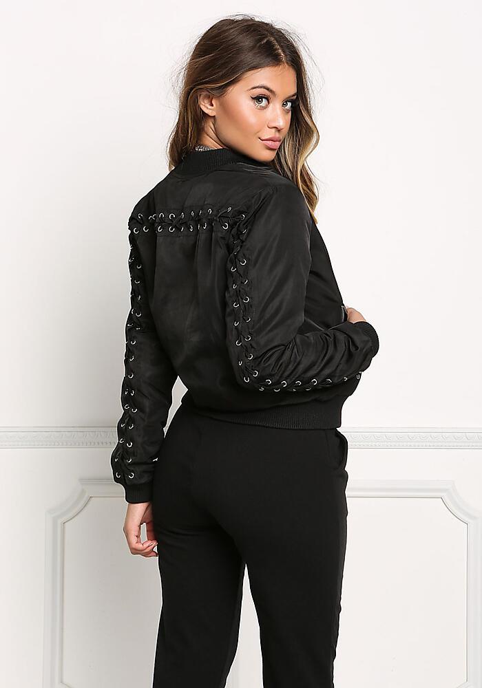 9278ba0c1 Shoptagr | Black Laced Back Bomber Jacket by Love Culture