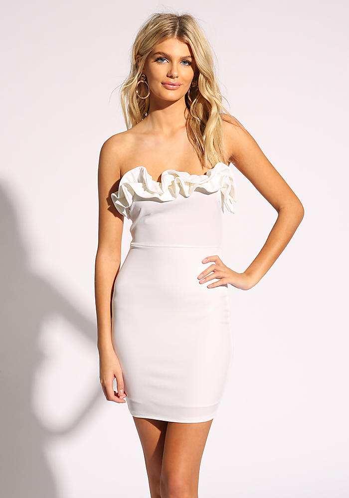 84a5951ff Junior Clothing | White Ruffle Strapless Bodycon Dress | Loveculture.com