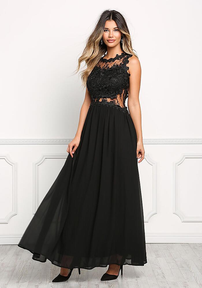 Junior Clothing   Black Floral Applique Lace Maxi Gown   Loveculture.com