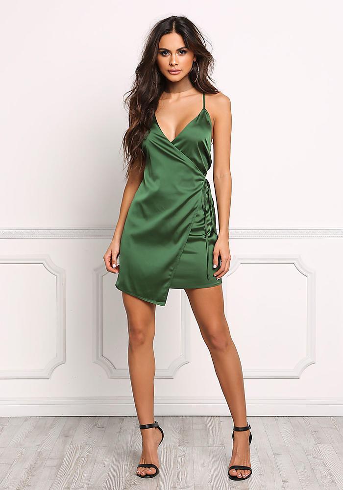 Junior Clothing Emerald Green Satin Faux Wrap Dress