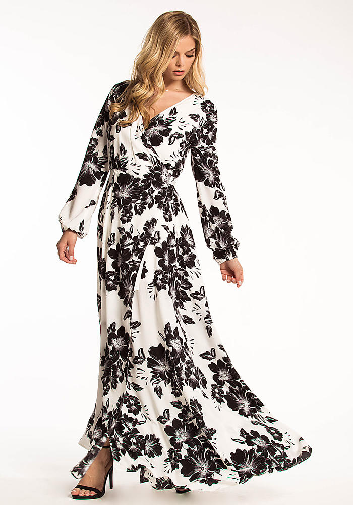 Junior Clothing Black And White Floral Wrap Maxi Dress Loveculture Com