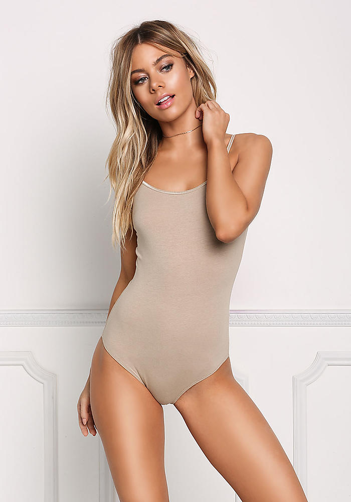 junior clothing taupe basic jersey knit bodysuit loveculture com