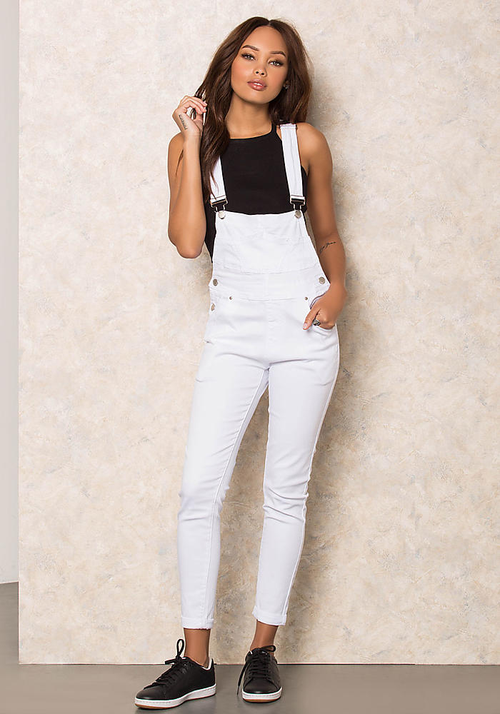 Junior Clothing White Classic Denim Skinny Overalls Loveculture