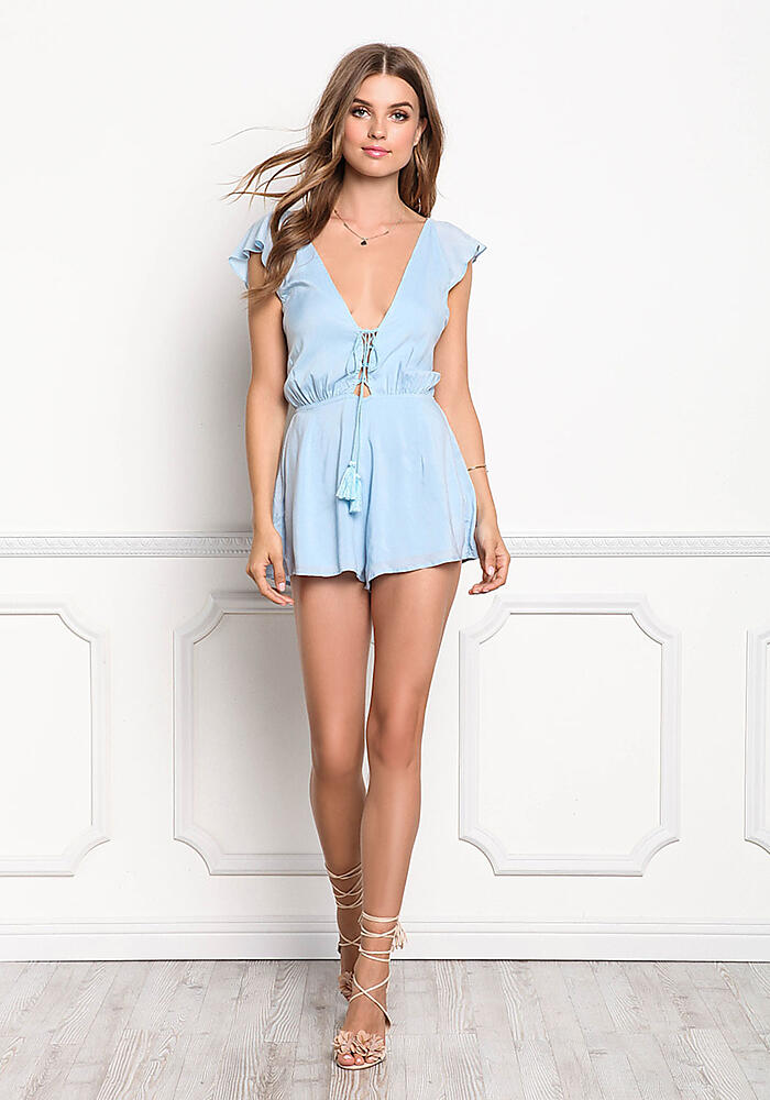 Junior Clothing Light Blue Plunge Open Back Lace Up