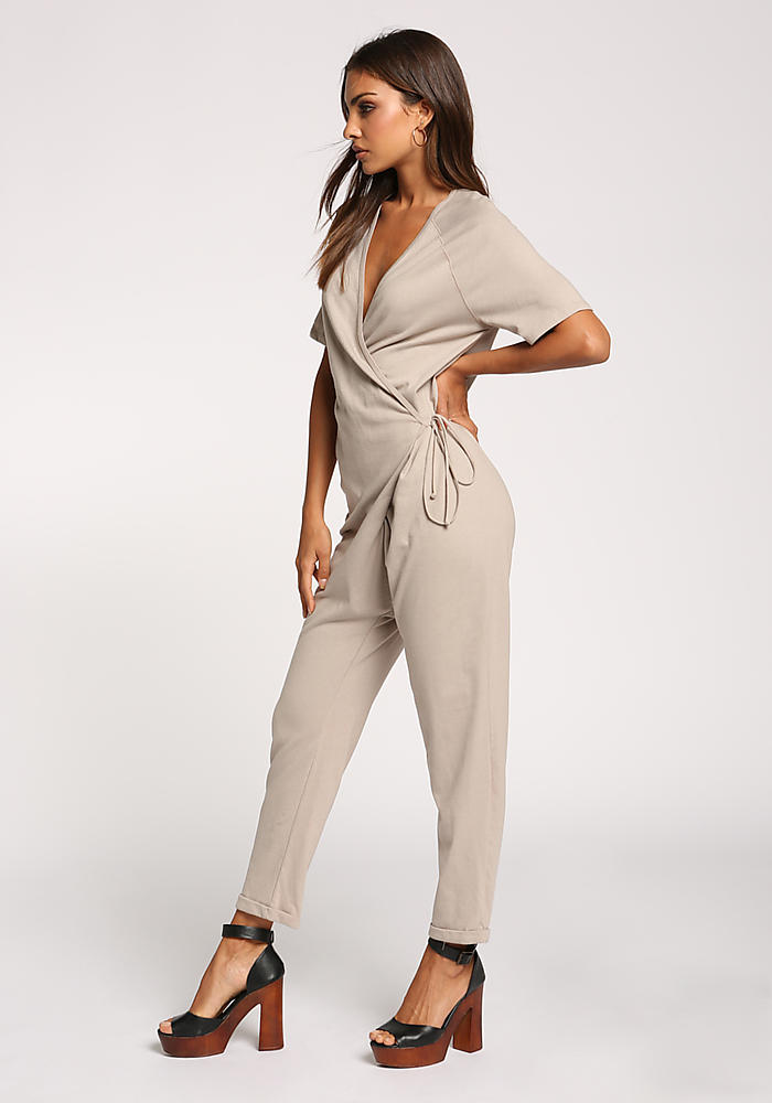 ef721a23a Junior Clothing | Taupe Low V Wrap Side Tie Jumpsuit | Loveculture.com