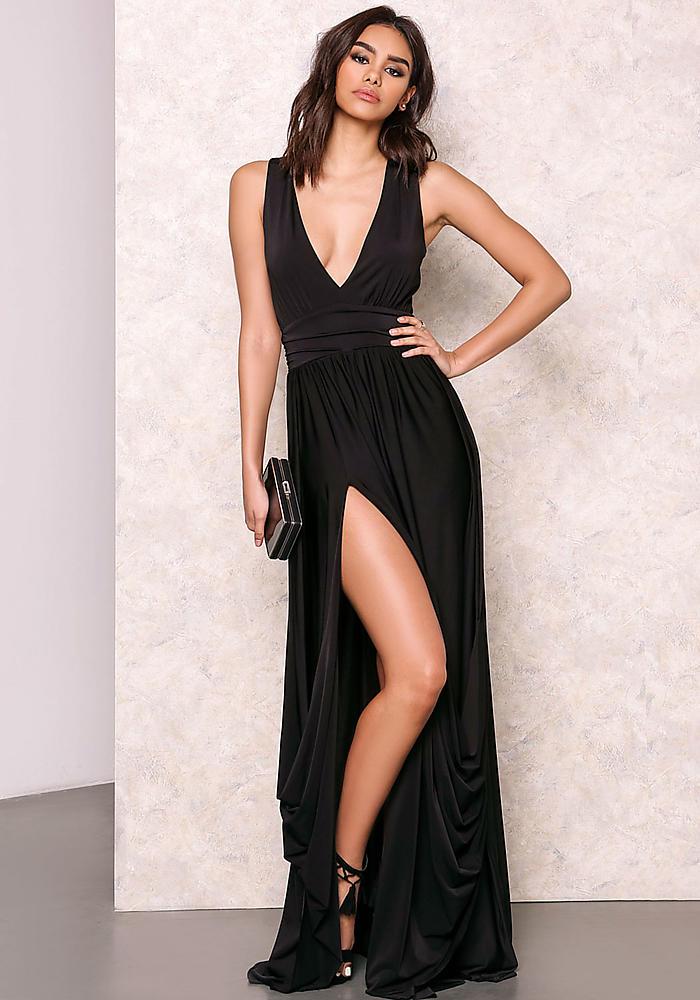 Junior Clothing | Black Drape Maxi Dress with Slit | Loveculture.com