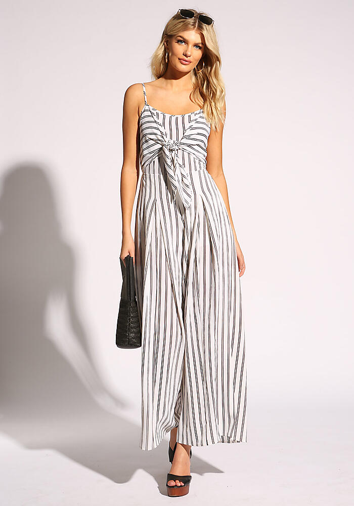 Junior Clothing | White and Black Pinstripe Tie Front Jumpsuit | Loveculture.com | Tuggl
