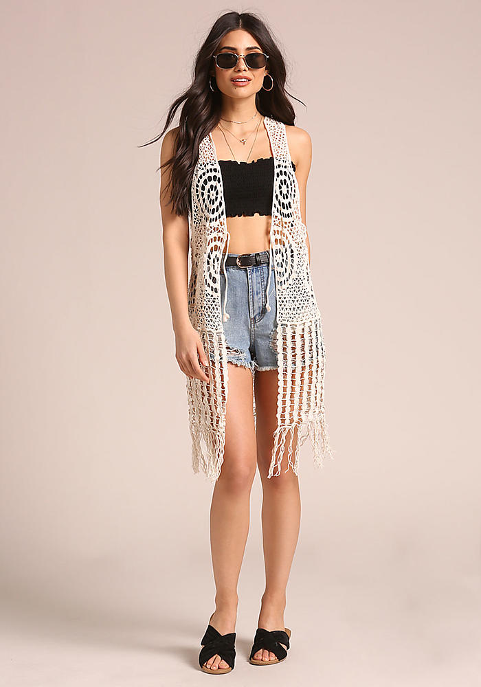 Shoptagr Natural Crochet Knitted Fringe Vest By Love Culture