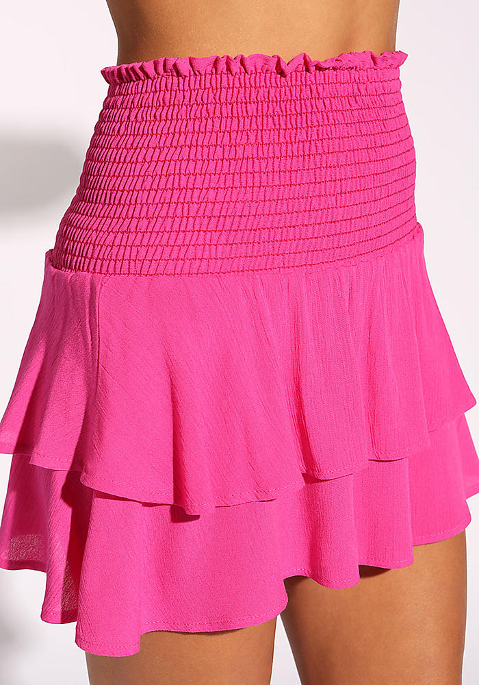 Junior Clothing Hot Pink Crepe Smocked Tiered Skirt