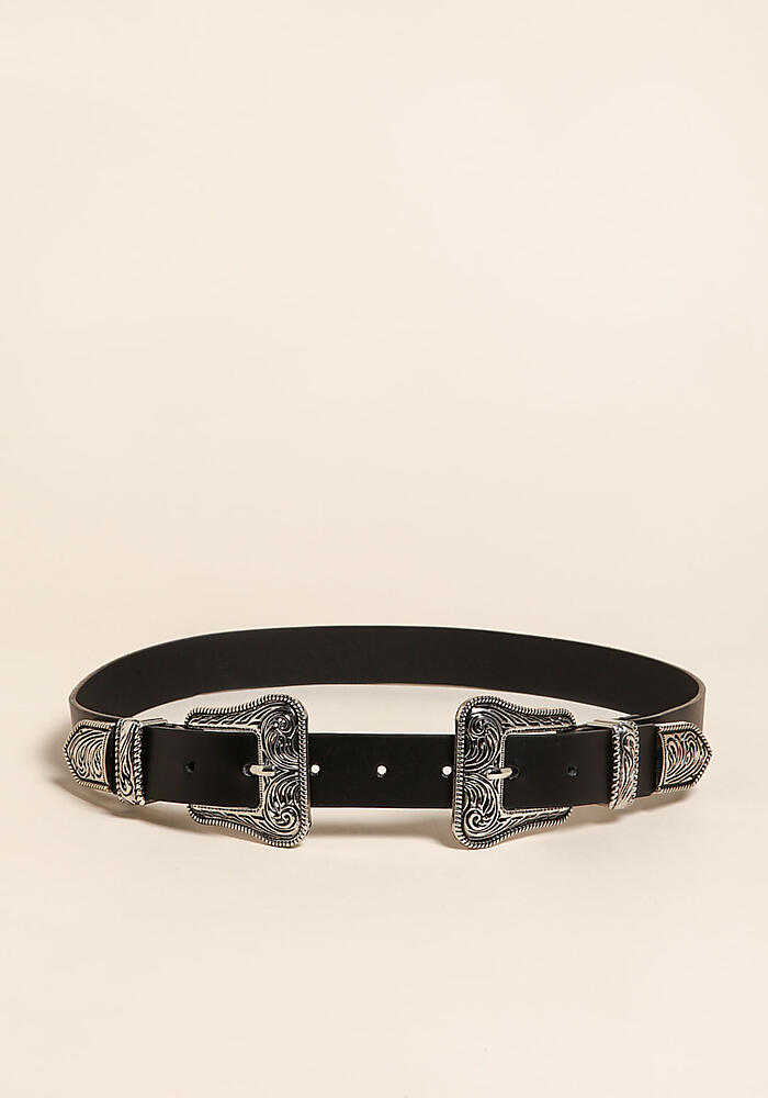 4446d69ed4 Black and Silver Leatherette Engraved Double Buckle Belt