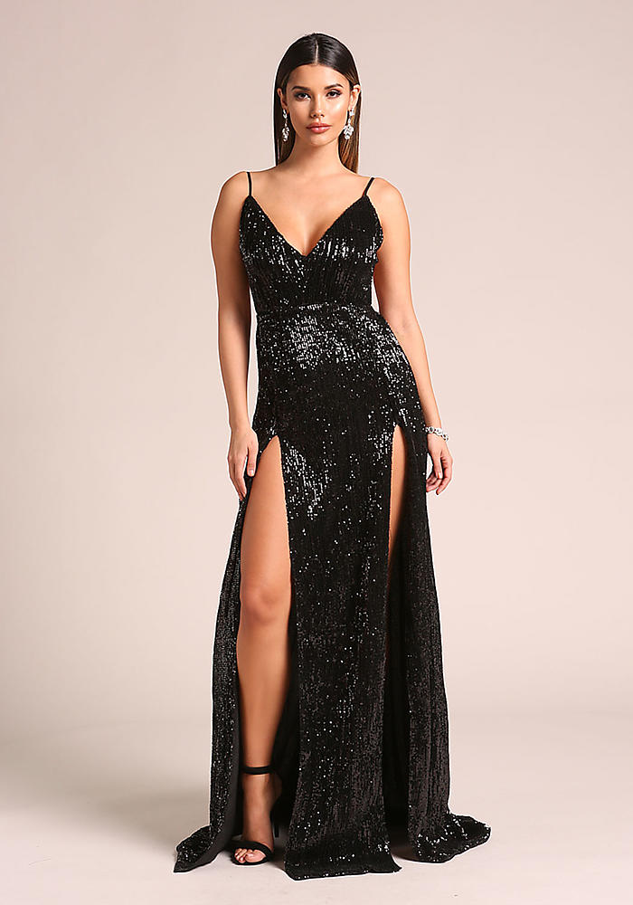 Junior Clothing | Black Sequin Double High Slit Open Back Maxi Gown ...