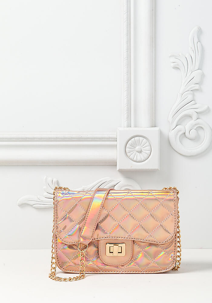 8bba77a49 Junior Clothing   Rose Gold Holographic Quilted Chain Crossbody Bag    Loveculture.com