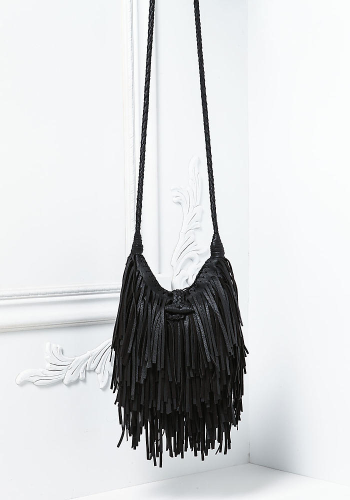 Junior Clothing Black Leatherette Fringe Crossbody Bag Loveculture