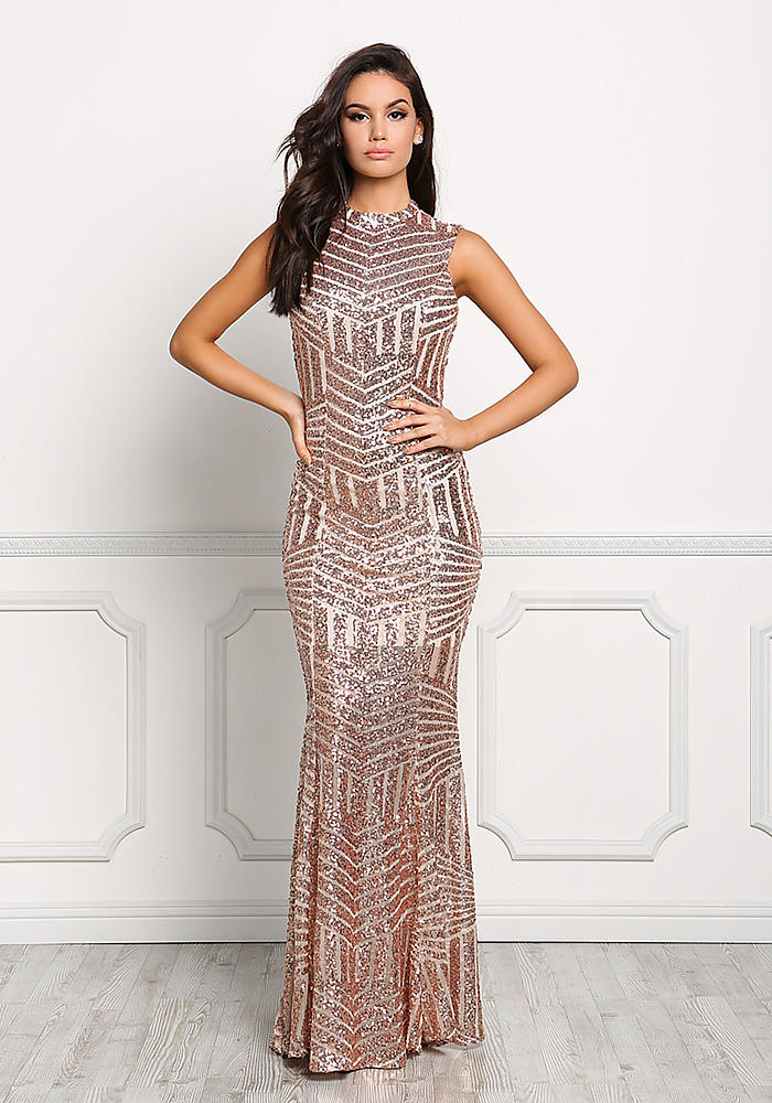 Junior Clothing | Rose Gold Sequin Open Back Mermaid Dress ...