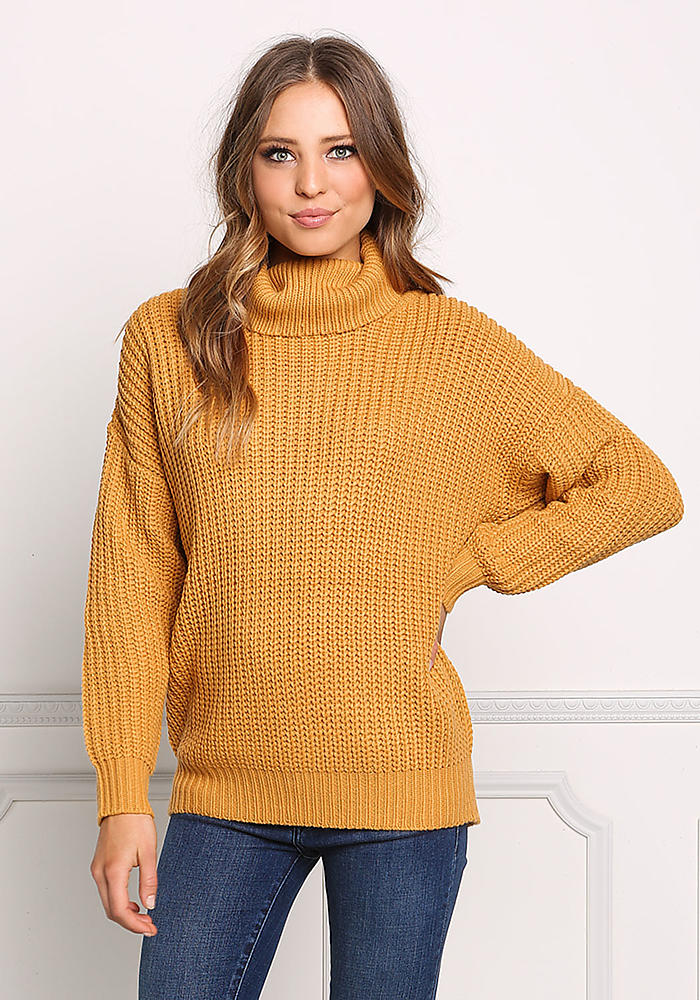 12e9c8a16fc Mustard Chunky Knit Turtleneck Sweater Top