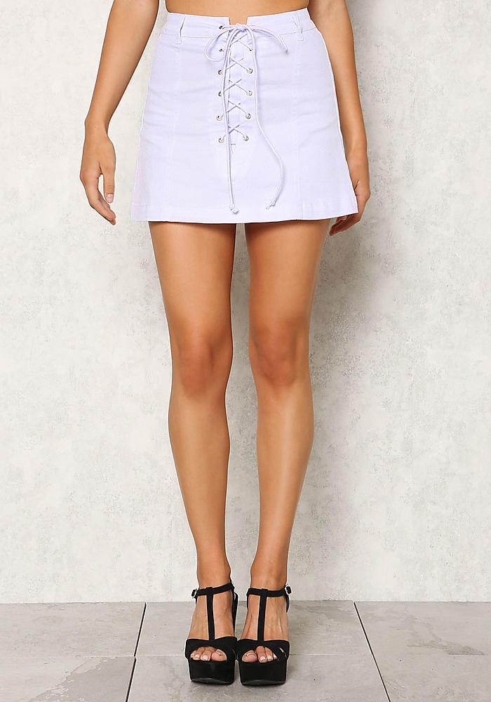 White Lace Up Denim Mini Skirt