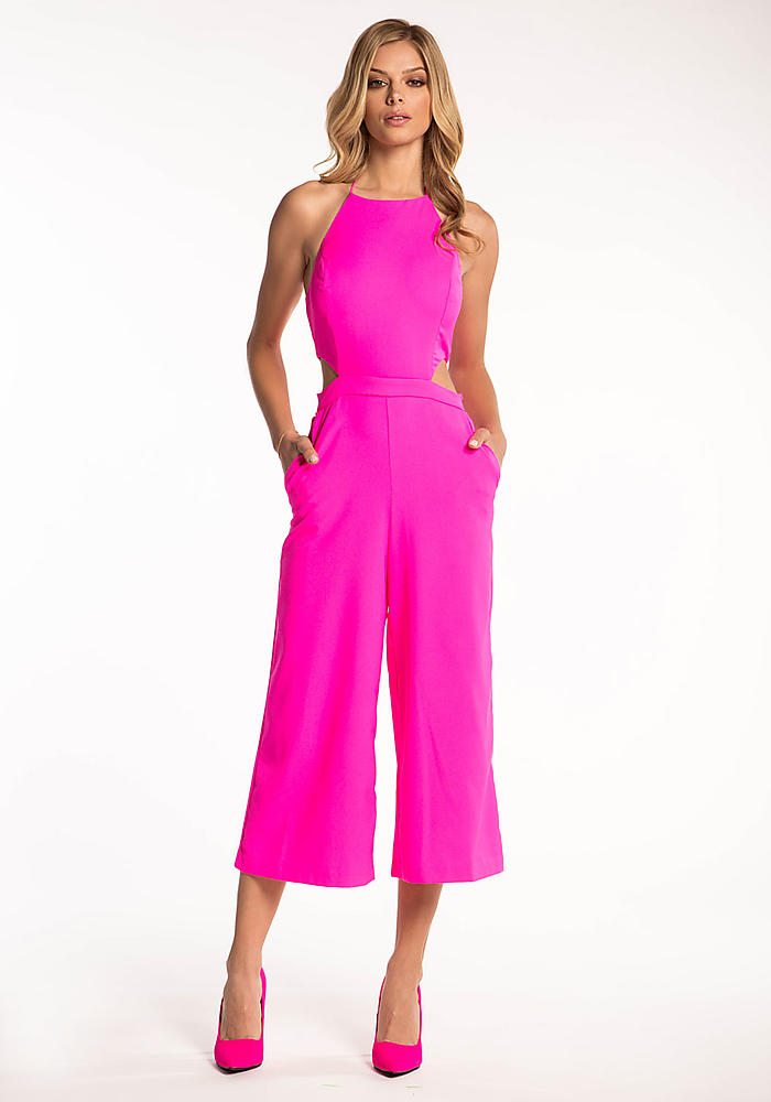 Junior Clothing | Hot Pink Cut Out Wide Legged Jumpsuit ...