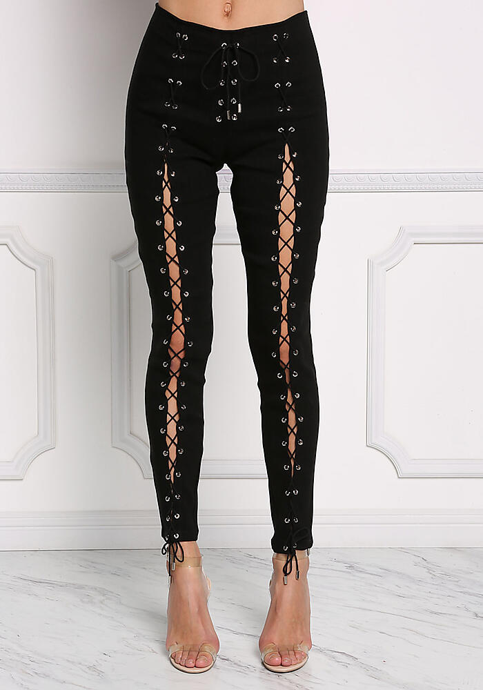 a7d141f507d846 Junior Clothing | Black Front Lace Up Skinny Pants | Loveculture.com