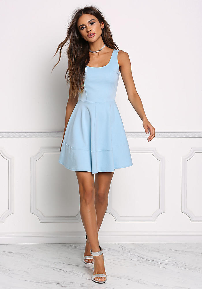 010842f2f Junior Clothing | Sky Blue Fit & Flare Dress | Loveculture.com