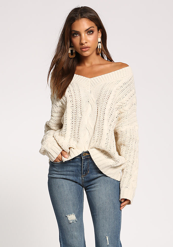 Junior Clothing Cream Cable Knit Puff Sleeve Sweater Top