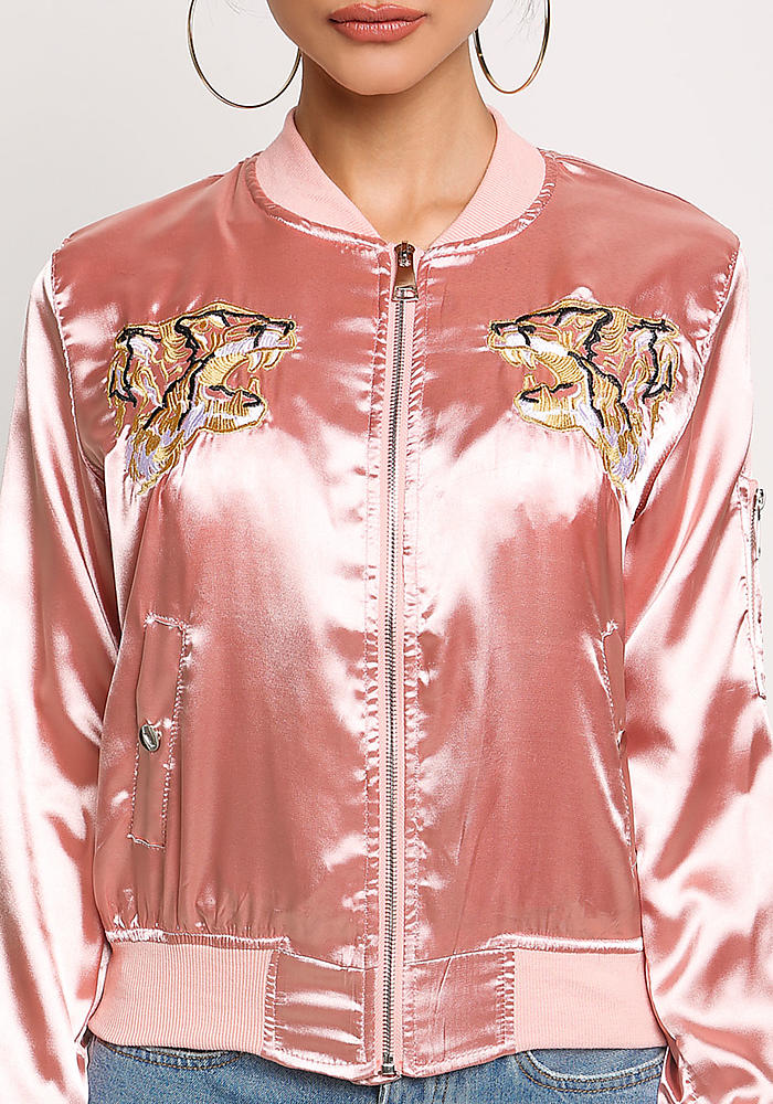 Junior Clothing | Pink Satin Tiger Embroidered Bomber Jacket ...