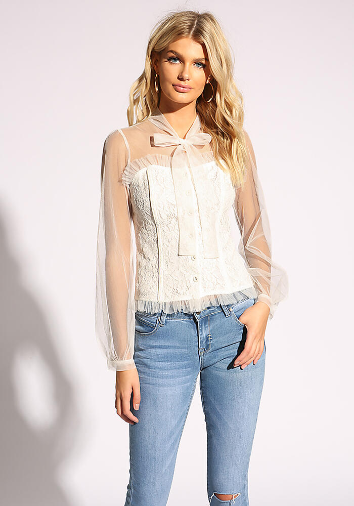 Junior Clothing | White Bustier Button Down Tulle Blouse | Loveculture.com | Tuggl