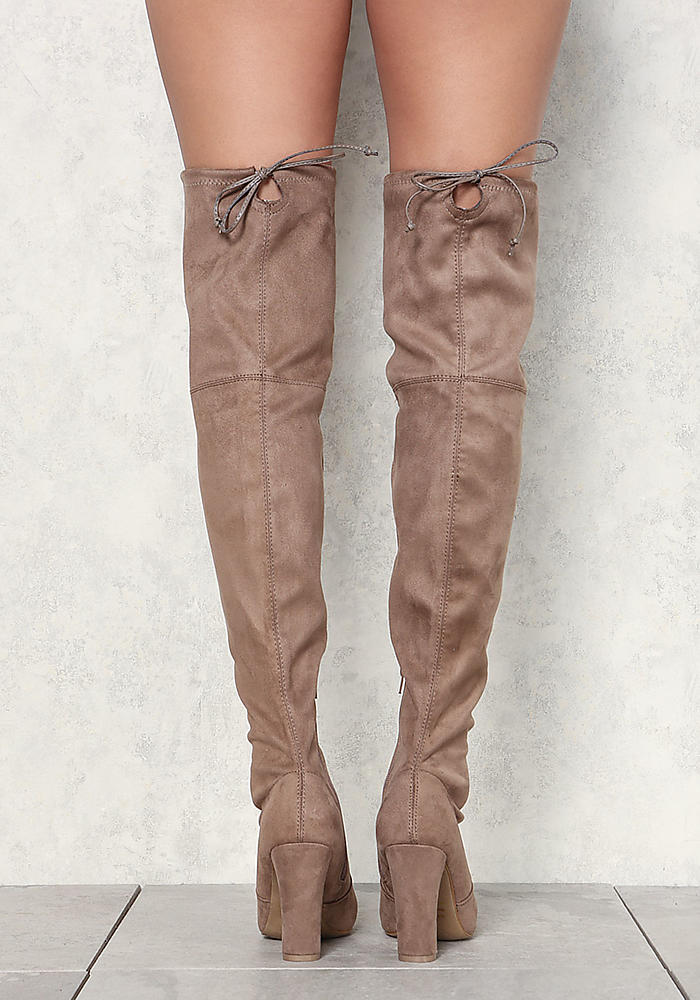 8c163df5f83 Junior Clothing | Taupe Suedette Thigh High Boots | Loveculture.com