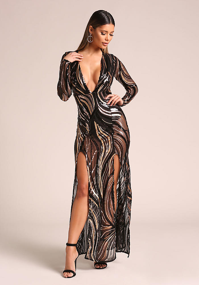 549f551fa9 Junior Clothing | Gold and Black Sequin Plunge Double Slit Maxi Dress |  Loveculture.com