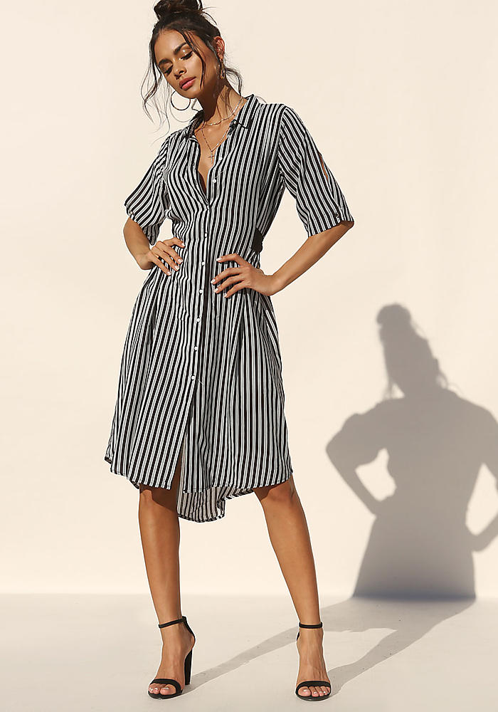 lowest price usa cheap sale lower price with Junior Clothing | Black and White Pinstripe Collared Button Down ...