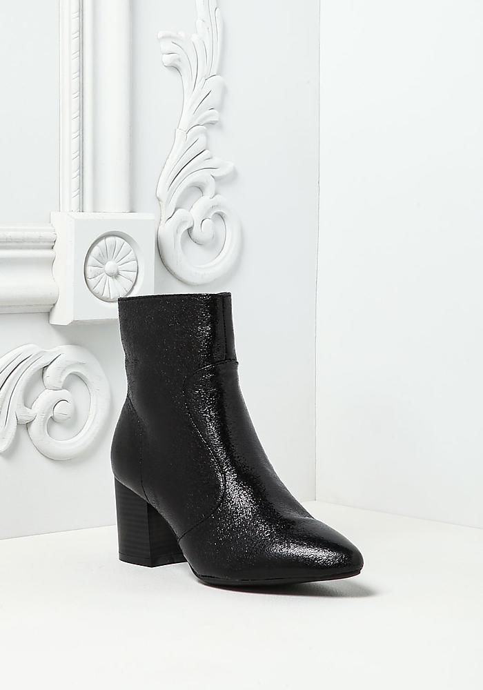 Black Metallic Foil Faux Leather Pointed Booties by Love Culture