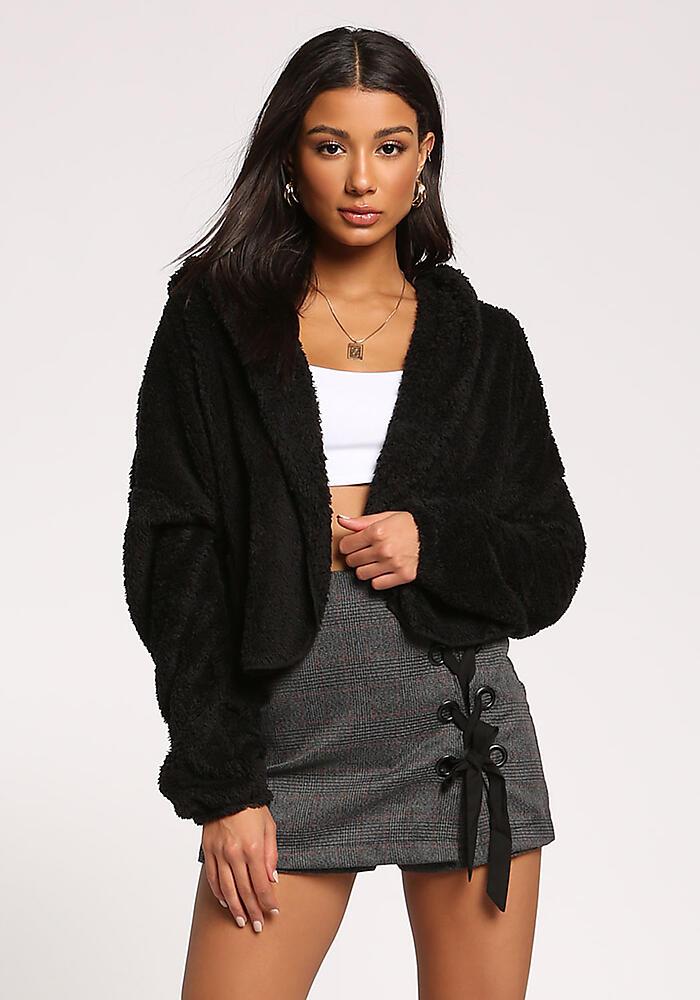 3e8a7fa0b79 Junior Clothing | Black Faux Fur Hooded Cropped Coat | Loveculture.com