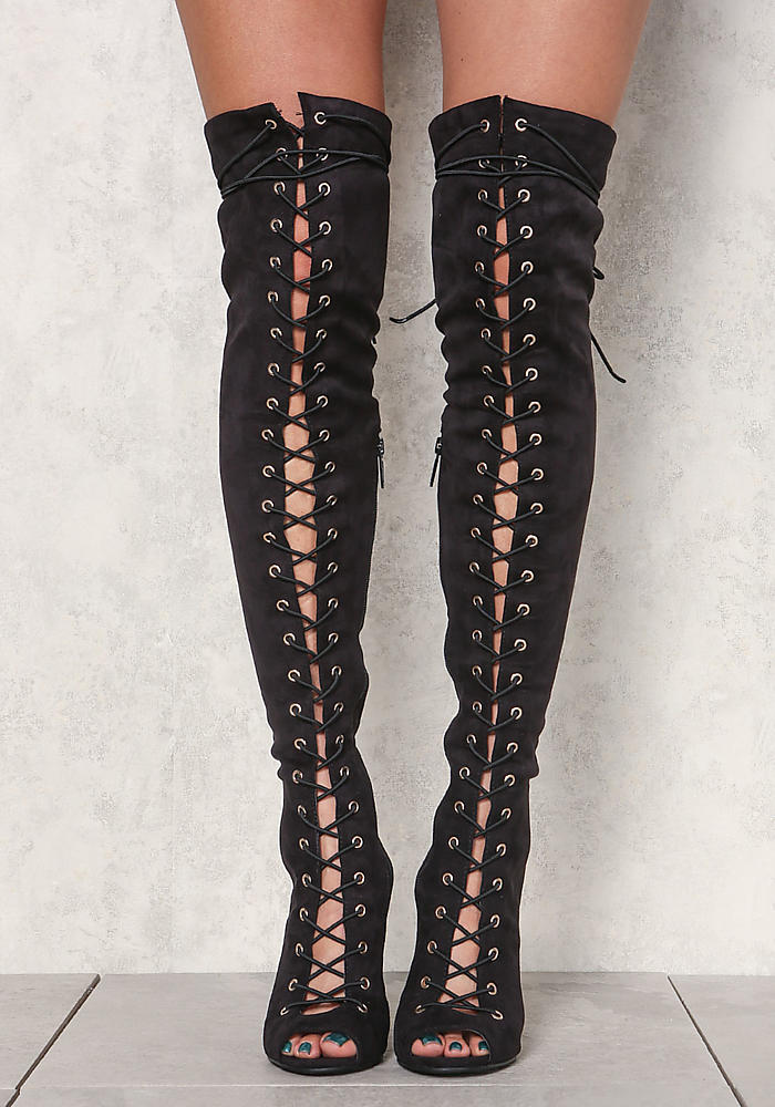 Black Suedette Lace Up Thigh High Boots