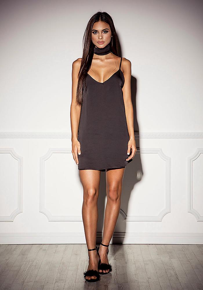 294e1ed95f56 Junior Clothing | Black Satin Slip Dress with Choker Sash | Loveculture.com