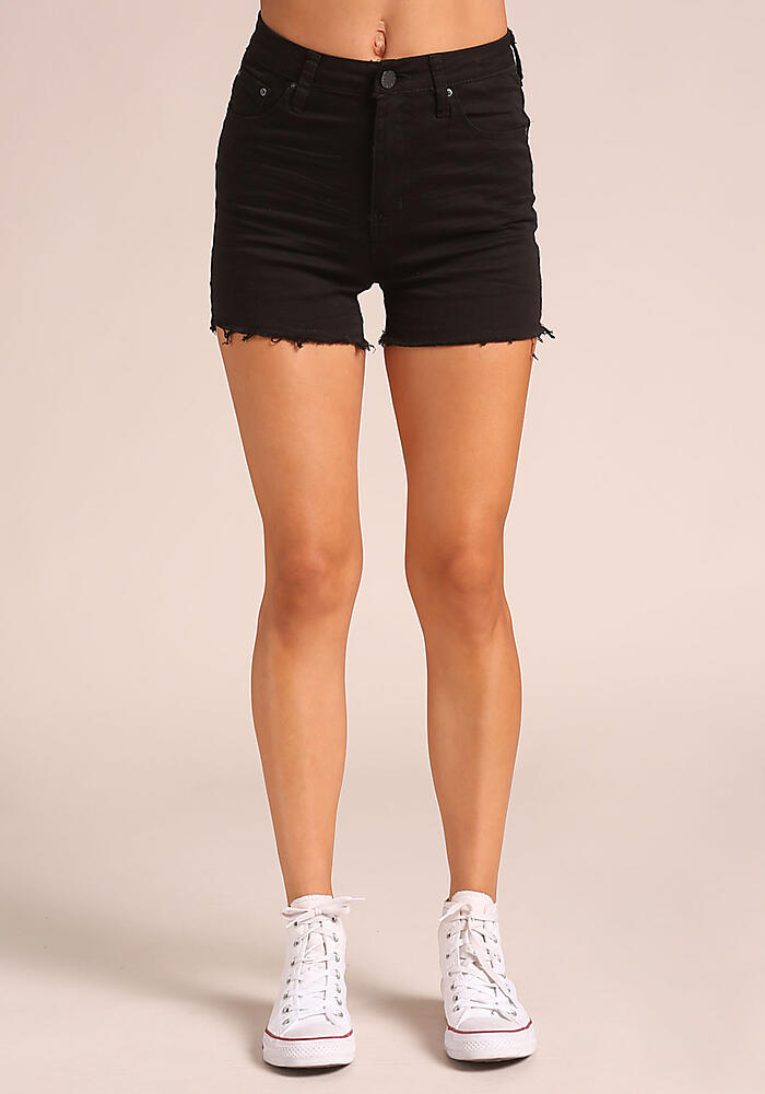 Junior Clothing | Black High Rise Denim Shorts | Loveculture.com | Tuggl