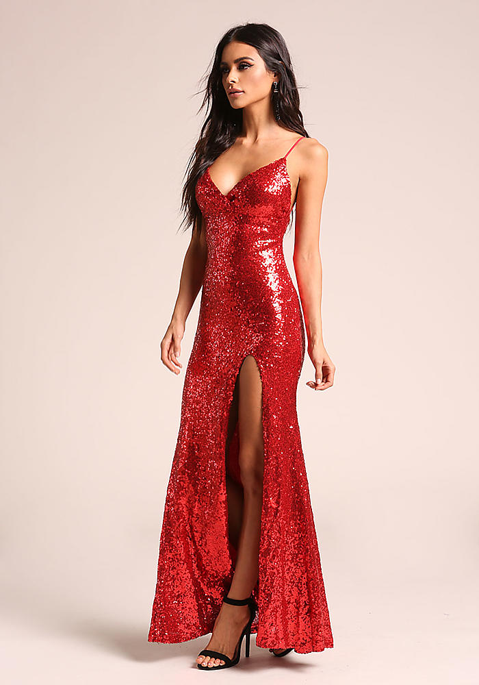 Junior Clothing | Red Sequin High Slit Maxi Gown | Loveculture.com