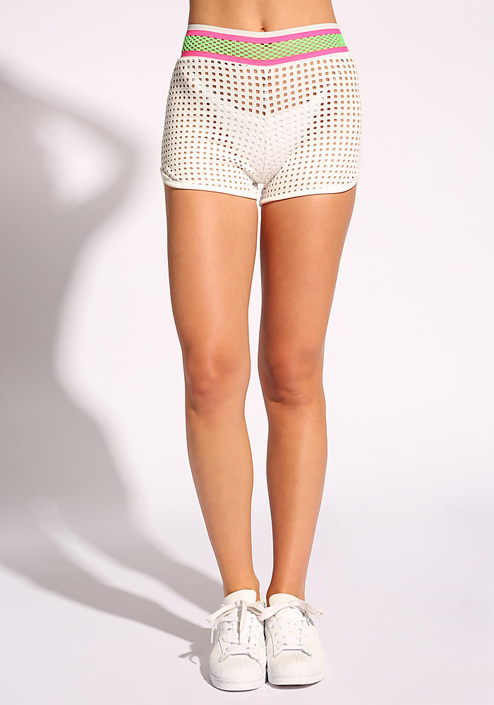 f607d8ab9e Junior Clothing | Ivory Laser Cut High Rise Shorts - Clothes |  Loveculture.com